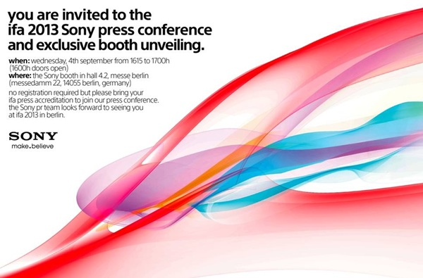 Sony bjuder in till presskonferens 4:e september under IFA