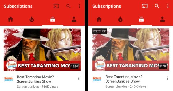 """YouTube-appen får stöd för """"visat""""-markeringar i fliken för prenumerationer"""