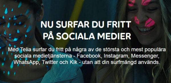 Telia: Nu surfar du fritt på sociala medier