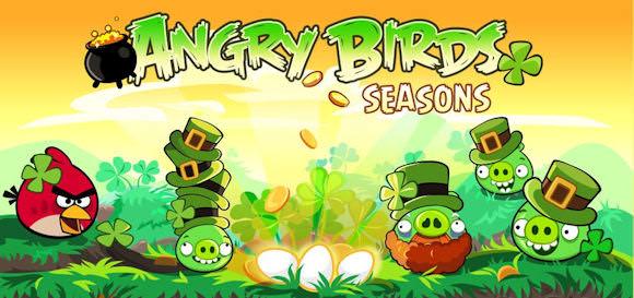 Angry Birds Seasons med Saint Patrick's Day-tema
