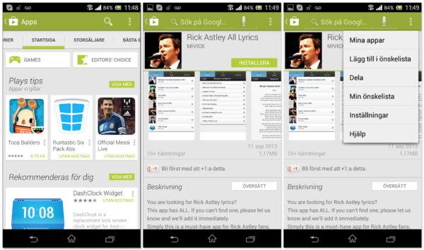 Den gamla versionen av Google Play