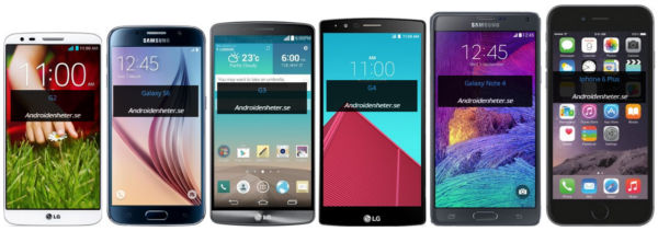 "LG G2 5,2"", Samsung Galaxy S6 5,1"", LG G3 5,5"", LG G4 5,5"", Galaxy Note 4 5,7"", Apple iPone 6 Plus 5,5""."