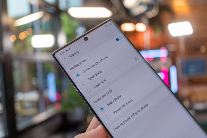 Galaxy Note 10: Låsknapp-inställningar