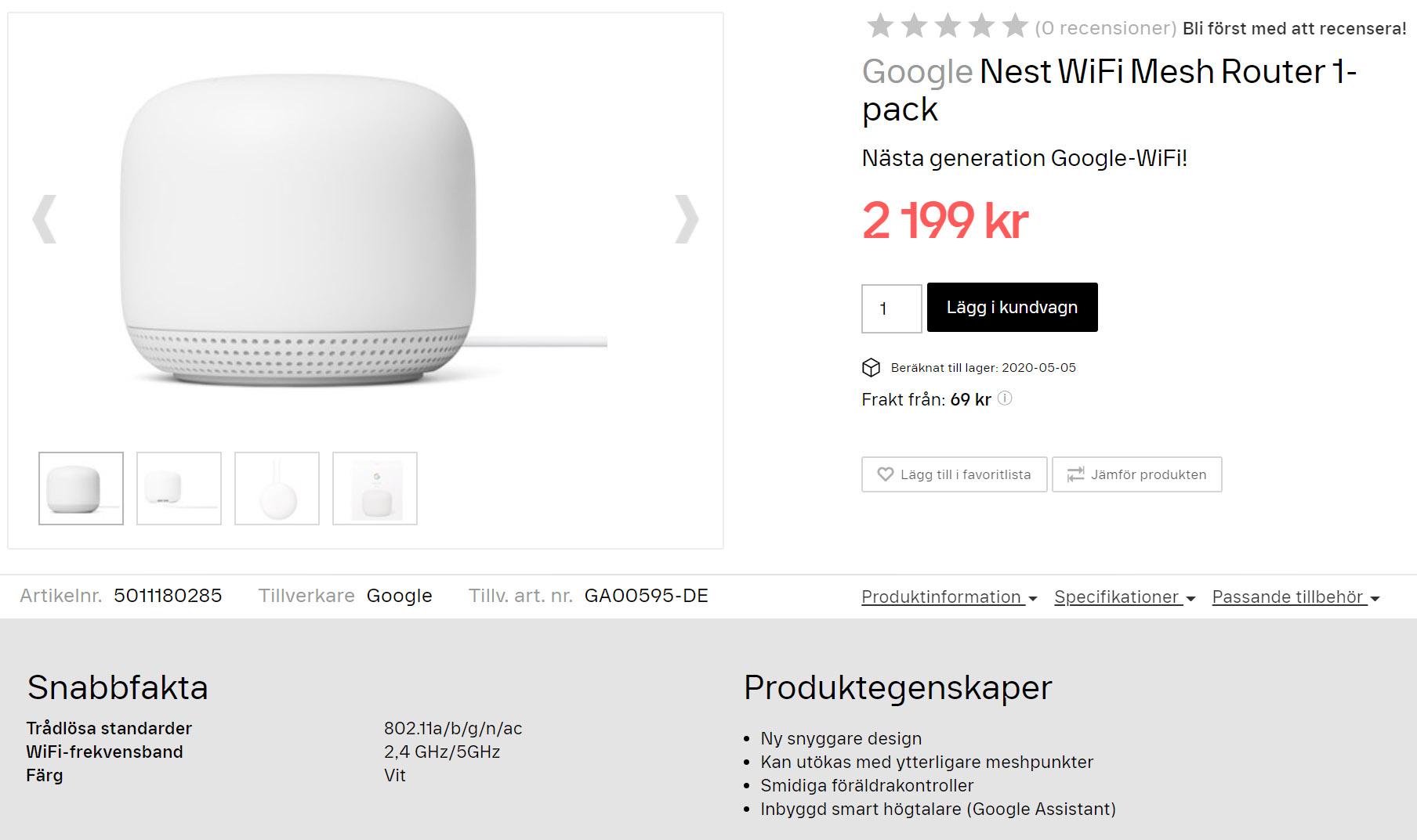 Svenska återförsäljare lägger upp Nest Wifi på de virtuella butikshyllorna